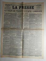 N276 La Une Du Journal La presse 11 juillet 1904 le tour de France 2e étape