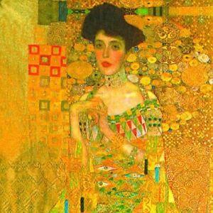 Paper Napkins for Decoupage, 4 Single Lunch Size Paper Napkins, Klimt Adele Bloc