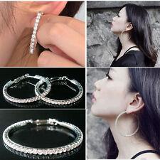 Mode Femme Boucle d'oreille Bijoux Diamante plaqué argent strass Hoop Clip