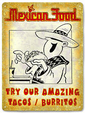 TACOS burritos MEXICAN food METAL sign / VINTAGE style RESTAURANT wall decor 594