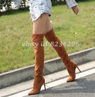 Overkneestiefel Damen High Heels Boots Schick Stiefel Schuhe Gr33-45/46 Boots