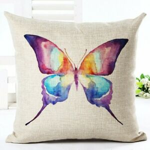 Butterfly Square Cotton Linen Pillowcases Home Decorative Cushion Seat Throw