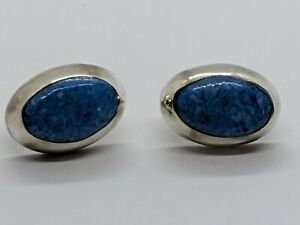Sterling Silver Oval Earrings Light Blue Lapis Like Stone Made in Mexico 0.79""
