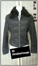 INC international concepts Black Ladies denim Jacket Faux Fur Collar Sz S