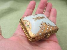 Antique Japanese Porcelain Robins Egg Blue Gold MORIAGE Trinket Pill Snuff Box