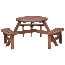 6 Person Wooden Outdoor Picnic Bench Table Set Patio Relaxing Garden Furniture