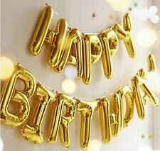 Self Inflating Happy Birthday Banner Balloon Bunting Gold 16 inch Letters Foil