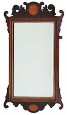 Antique Georgian revival inlaid mahogany fret cut wall mirror C1900