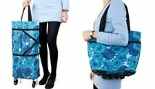 Collapsible Trolley Bags Folding Shopping Bag With Wheels Blue Foldable Reusable