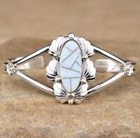 Navajo Native American Sterling Silver Opal Inlay Cuff Bracelet Signed JY