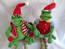 """CHRISTMAS FROGS 18"""" Plush Set of 2 Boy Girl 2006 Jo-Ann Stores Shelf Sitter"""