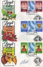 KIRIBATI 1982 BIRTH OF PRINCE WILLIAM SET 3 TAB GUTTER PAIRS 3 FIRST DAY COVERS