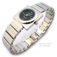 NEW Wristwatch Womens Watch Ladies Watches Black Dial Face Square Silver Metal
