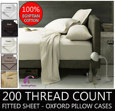 Egyptian Cotton Fitted Sheet With 2 Match Pillow Cases 200 Thread 6 Colours Al Single White