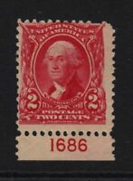 1903 Washington 2c carmine Sc 301 MNH OG plate number single, Hebert CV $100