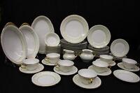 56pc THOMAS Bavaria Porcelain China w/ Laurel Band Gold Trim, Svc for 11 (128)