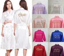 LONG Silk Satin Robe Personalized Kimono Bride Bridesmaid Dress Wedding Bathrobe