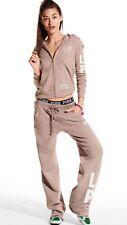 Victorias Secret Pink Logo Boyfriend Sweat Pant & Zip Up Hoodie Set Lav Rain M