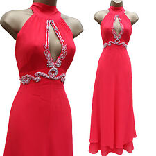 Unique Karen Millen Coral Jewel Grecian Glamouros Maxi Cocktail Dress 12 UK