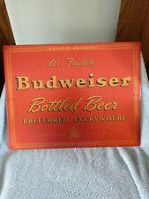 We Feature Budweiser Bottled Beer Metal Sign Garage Man Cave EUC