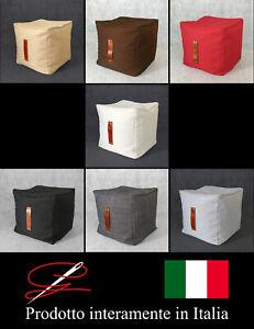 POUF POUFF PUFF CUBO MORBIDO ARREDAMENTO TESSUTO MANIGLIA DESIGN MADE IN ITALY