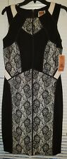 NWT Nue By Shani Black Ivory  Ottoman Knit Lace Dress W Shapewear Size 10 Sheath