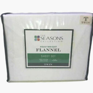 "The Seasons Collection 3 Pc Heavyweight Flannel Sheet Set 16"" Deep Twin, White"