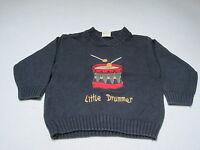 "süßer Kinderpulli Pullover ""Little Drummer"" dunkelblau Gr. 92/98 H & M Baumwolle"