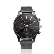 Classic Mens Women Military Stainless Steel Date Sport Quartz Analog Wrist Watch Black