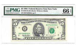 1995 $5 NEW YORK FRN, PMG GEM UNCIRCULATED 66 EPQ BANKNOTE, DC