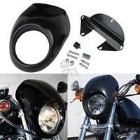 Black Headlight Fairing Mask Front Cowl Visor Bracket Set for Harley Sportster