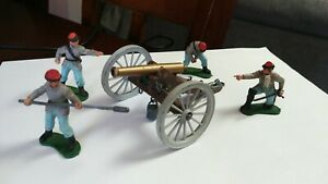Britains Ltd. Lot of 4 Confederate Soldiers & Casson Cannon.