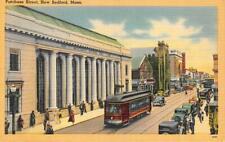 NEW BEDFORD, MA Massachusetts  PURCHASE STREET SCENE  Olympia  c1930's Postcard
