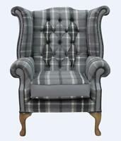 Chesterfield Armchair Queen Anne High Back Wing Chair Dove Fabric Grey Leather