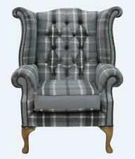 Fauteuil Chesterfield Queen Anne dossier haut aile chaise Colombe Tissu Cuir Gris