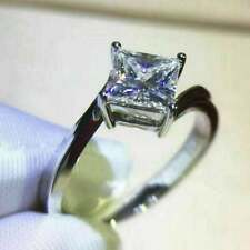 Engagement Ring 14K White Gold Over 1.50 Ct Princess Cut Simulated Moissanite