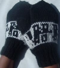 NEW, 100% ALPACA WOOL HAND KNITTED FINGERLESS GLOVES, MITTENS, BLACK, ANDEAN b