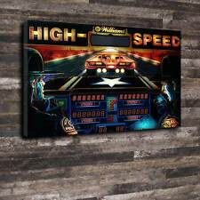 "High Speed Pinball Back Glass Printed Canvas A1.30""x20""Deep 30mm Frame Mancave"