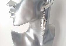 Gorgeous long silver tone & diamante long triangle design drop earrings * NEW *