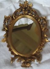 MIROIR OVALE MEDAILLON  OR MINIATURE ITALIE A SUSPENDRE mirror on gold plastic