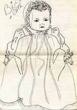 "16""ANTIQUE BYE-LO/BI-LO CLOTH/SOFT SCULPTURE BABY ART DOLL/DRESS/BONNET PATTERN"