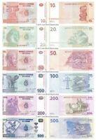 Congo 10 + 20 + 50 + 100 + 200 + 500 Francs Set of 6 Banknotes UNC
