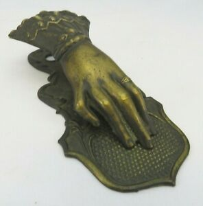 Antique Victorian Brass Hand Letter Clip by J & E Ratcliffe