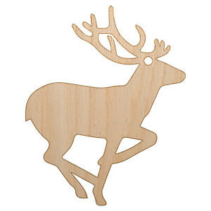 Deer Buck in Profile Solid Unfinished Craft Wood Holiday Christmas Tree Ornament