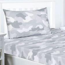 Gris Camouflage Armée Drap Simple + Housse D'Oreiller - Literie Garçons Enfants