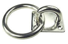 KAMERO Edelstahl Augplatte mit Ring,  D6  40x35 mm, Decksauge mit Öse, Auge V4A
