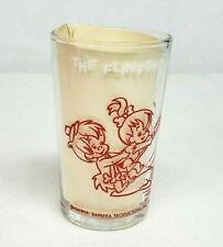 Vtg 1964 Flintstones PEBBLES LANDS A FISH & Bam Bam RED Welch's Jelly Jar Glass
