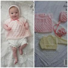 KNITTING PATTERN Baby's Lacy Angel Top Blanket Cardigan Bonnet DK KIng Cole 4689