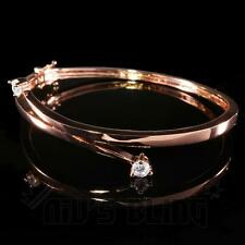 18k Rose Gold Simulated Lab Cubic CZ Womens Ladies Bangle Fasion Bracelet BCZ6R