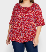 Evans ladies blouse top plus size 16 - 28 red floral print floaty loose fit